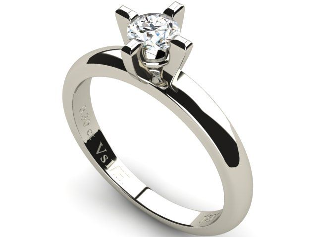 White Gold Solitaire Diamond Ring 0.30ct - Paul Jewelry