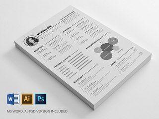 Макет для создания резюме или портфолио с использованием элементов инфографики.