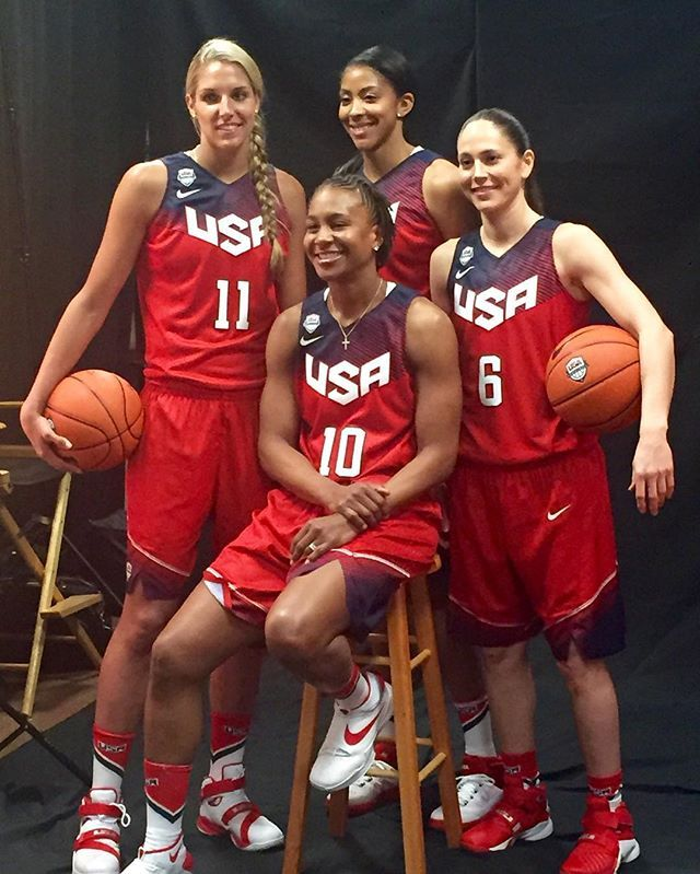 """OK ladies now let's get in formation #RoadtoRio @teamusa #olympics2016"" - Candace Parker with Tamika Catchings,  Sue Bird and Elena Delle Donne"