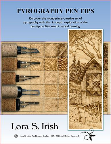 Learn about wood burning tools, wood burning tool tips as Lora Irish teaches you how to shade your wood burning pattern using sepia tones, textures, and fine line detailing, tracing your pattern, prepare your wood surface, finish a wood burning designs and the different medias you can use in your pyrography as leather, paper, gourds, cotton cloth, and chipboard.