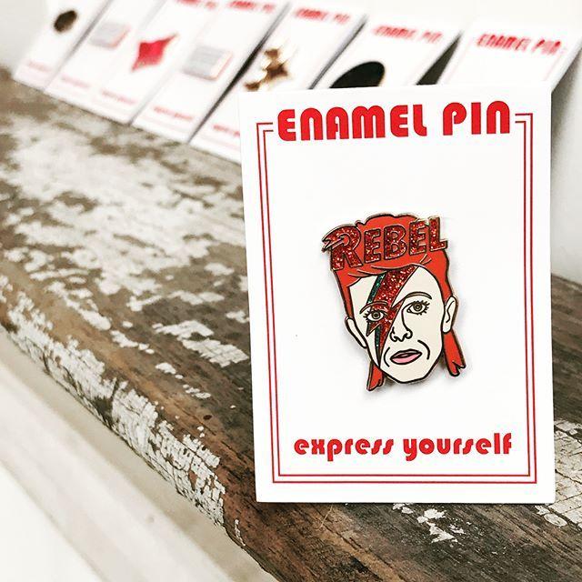 ⚡️New flair ⚡️online / in-store #enamelpin #bowie #davidbowie #beyonce #ladygaga #resist #lapelpin #pincollector #pinstagram #rebelrebel #slayallday #nastywoman #eleanorroosevelt #flair
