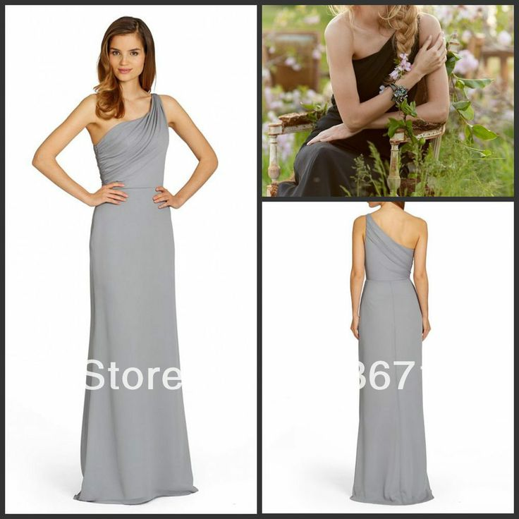 Sexy One Shoulder Light Grey Chiffon Ruched Custom made Designer Bridesmaid Dresses Long 2013 $99.00