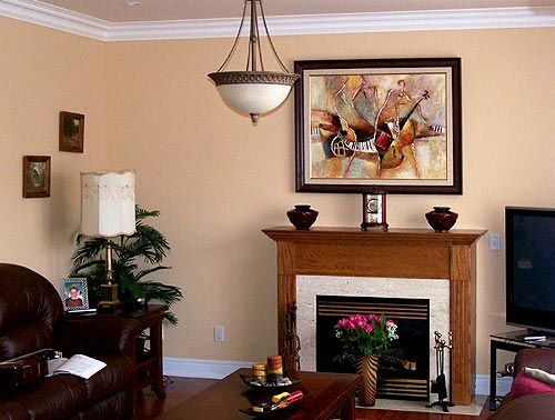 Framed Jazz Painting Over The Fireplace For The Home Pinterest