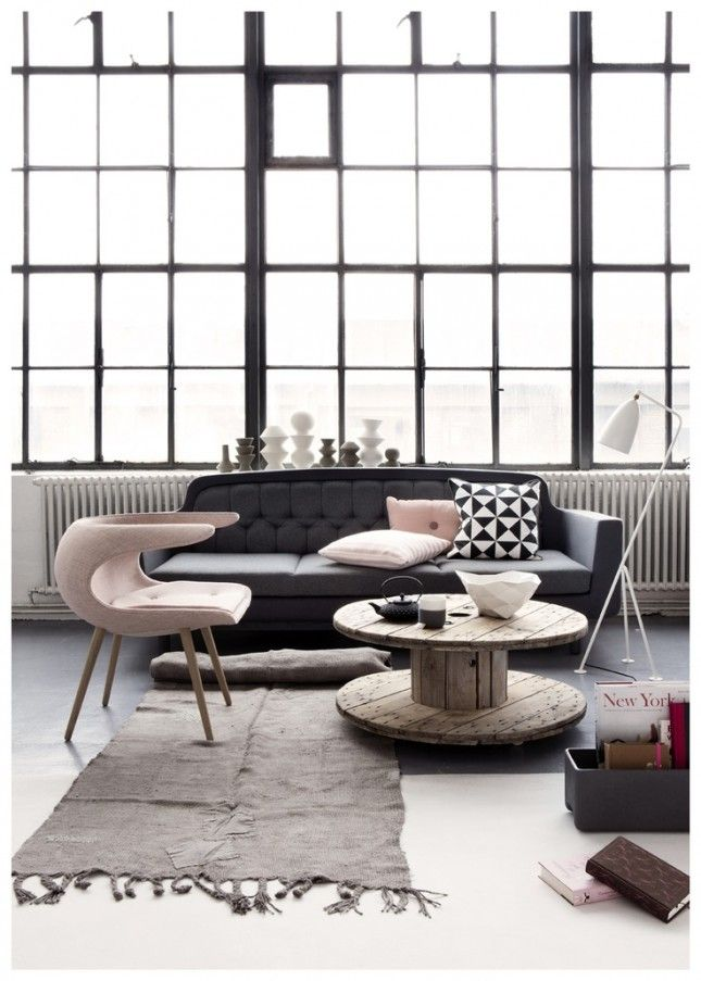 13. Pink and Gray: This pink and gray color palette is a gorgeous, feminine take on the Scandinavian look. (via La Maison d'Anna G.)  - Fresh and Clean: 30 Scandinavian-Inspired Rooms via Brit + Co.