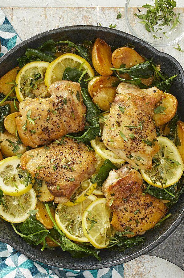 Skillet Lemon Chicken Potatoes With Kale Healthy Entrees Healthy Chicken Recipes Lemon Chicken