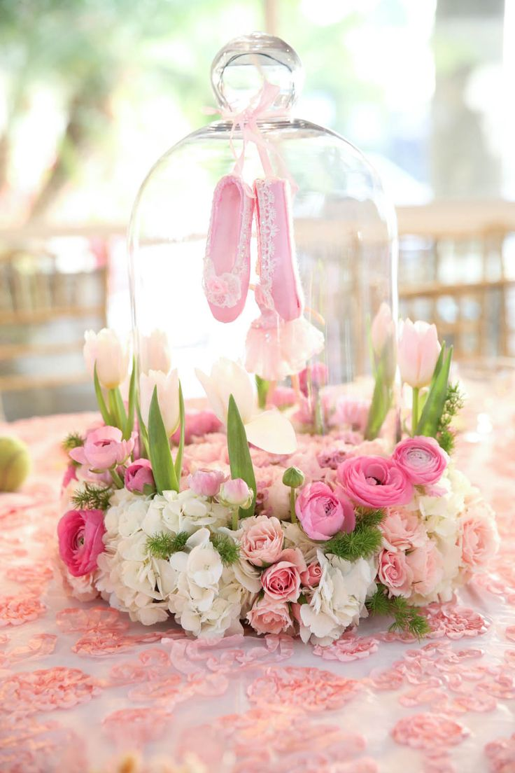 Ballet themed party --- this would be adorable at a baby shower! Maybe with a glass bottle inside!