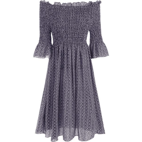Tiny Floral Smocked Off Shoulder Midi Dress (€17) ❤ liked on Polyvore featuring dresses, purple floral dress, midi dress, off shoulder dress, off the shoulder midi dress and smock dress