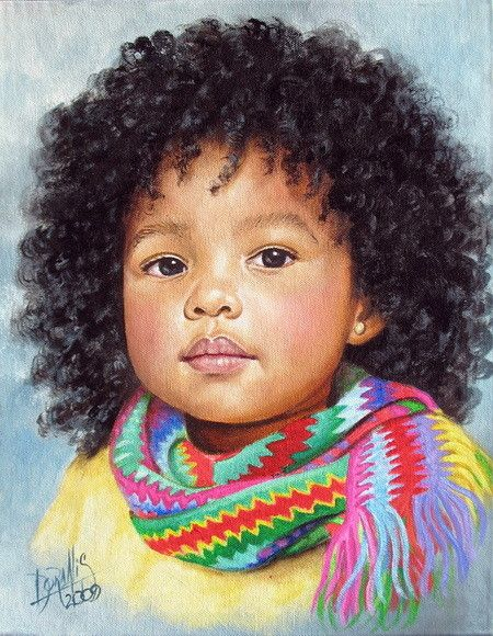 This is a beautiful painting done by Colombian Artist Dora Alis...she's such an exceptional artist who paints the faces of Afro Colombian children.  #NaturalHair #NaturalHairArt