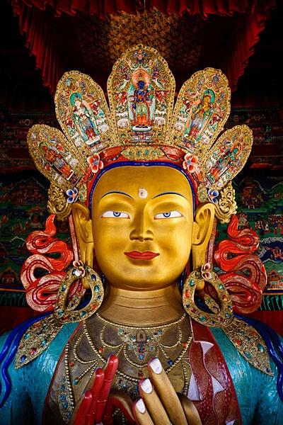 Statue of Maitreya Buddha, Thiksey Gompa, Ladakh, Jammu and Kashmir, India