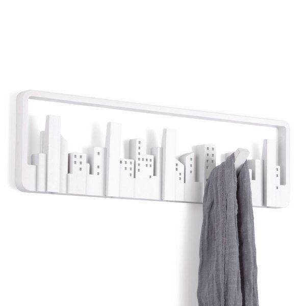 Umbra SKYLINE MULTI HOOK - Wall COAT RACK with 5 Hooks - WHITE