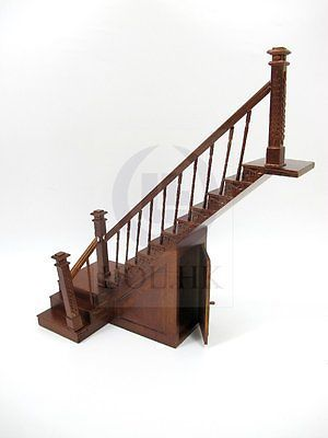 1-12-Scale-Miniature-Right-Landing-Staircase-With-Stock-Room-For-Doll-House-WN