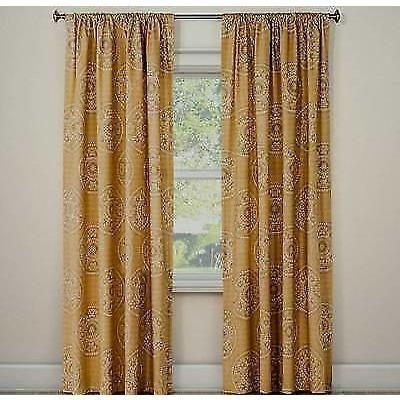 "Threshold Gia Medallion Basic Tan Curtain Panel 108"" L"