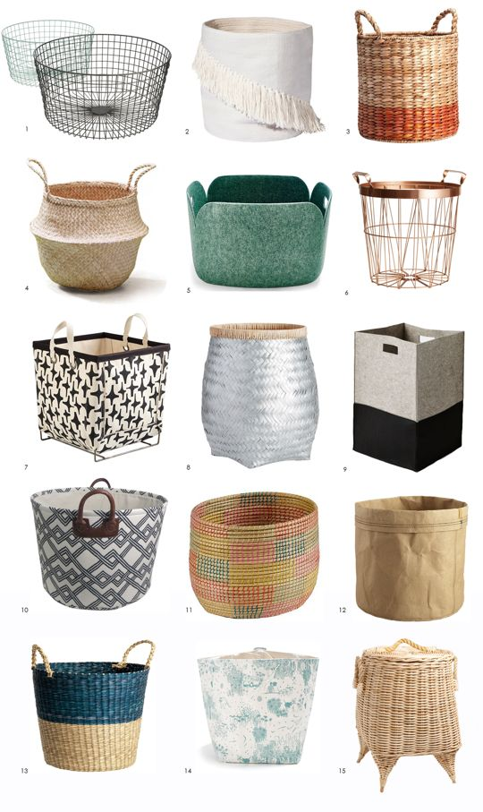 A 3x5 Grid Showing Storage Bins And Baskets In Variety Of Colors Shapes