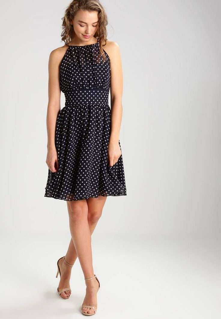 """Swing. Summer dress - schwarzblau/hellrosa. Our model's height:Our model is 69.5 """" tall and is wearing size 10. Fit:tailored. Outer fabric material:100% polyester. Pattern:polka dot. Care instructions:Dry clean only. Details:zip fastening,sl..."""