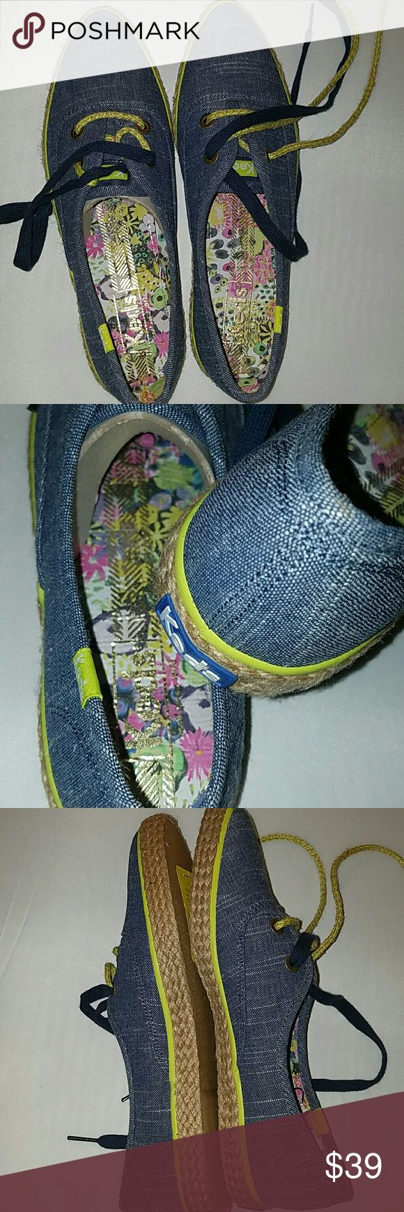 "☃️💲↘️👟👣NWT👣👟☃️💲↘️The Pointer by Keds SALE The Pointer by Keds in ""black"" (they are blue denim but the color is called black). Bright green trim, burlap wrapped rubber heel, adorable floral inside. Two laces, navy and green/burlap.  NWT,  no box!!! Keds Shoes"