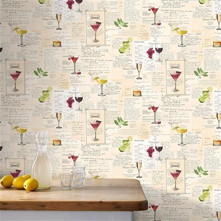 ACHICA | Superfresco Cocktails Wallpaper, Multi I Kitchen I £9.00 a roll
