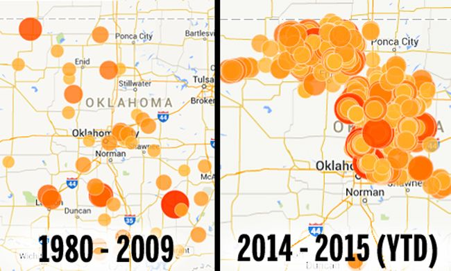 Confirmed: Oklahoma Earthquakes Caused By Fracking---Note: Only Earthquakes with a magnitude of 3.0 and higher are displayed. Map credit: Oklahoma Office Of The Secretary Of Energy & Environment