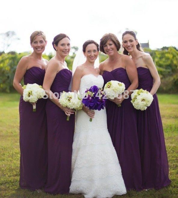Линии Без Бретелек Милая Шеи Шифон Фрейлина свадебные платья дама де честь Длинные Фиолетовые Платья Невесты UM1782