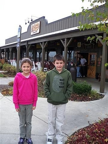 My kids at our favourite family restaurant in the U.S - Cracker Barrel! We love this place! www.traceyalvarez.com