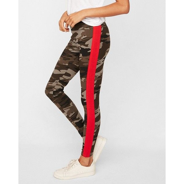 9b77fc9b12cb3 Express High Waisted Sexy Stretch Side Stripe Camo Leggings ($50) ❤ liked  on Polyvore featuring pants, leggings, camo, high rise leggings,  high-waisted ...