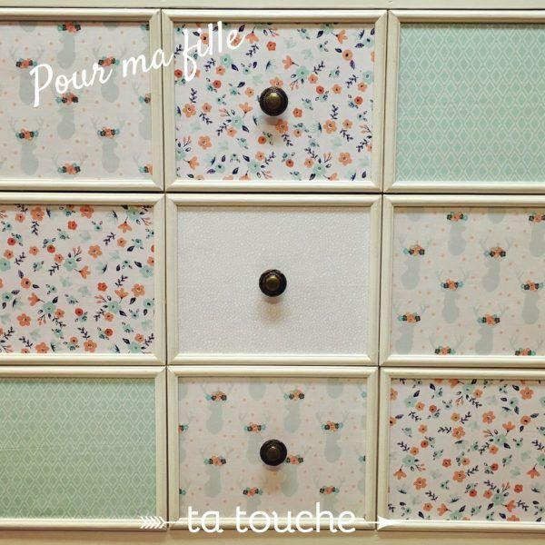 Coller du tissu sur tiroir d'une commode pour chambre de petite fille par ta touche - relooking de meubles (atelier situé à Chambly)