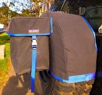 WALKABOUT'S rear wheel bag gives you the ability to store wet, dirty and smelly items outside of your vehicle.  The bag features a large pocket which is designed to hold not only rubbish and recycleable items but also wet and/or dirty recovery gear such as muddy snatch straps.  Unlike other similar products on the market WALKABOUT's rear wheel bag comes complete with a removable, washable inner liner made from rip stop PVC. #carrubbishbag #wheelbag #offroadstorage