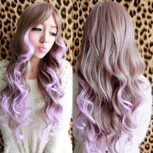 原宿假发 长卷发 中分渐变亚麻色粉紫色双色 渐变彩色 假发现货
