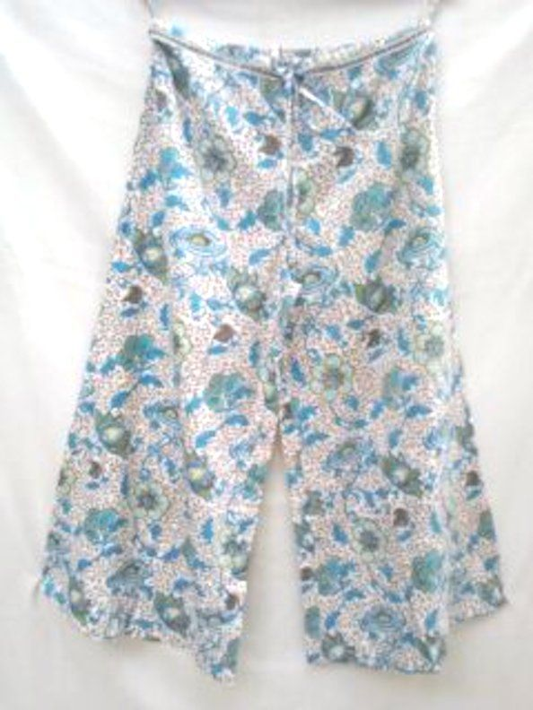 Boho chic Anokhi Chinoiserie Floral Aqua & Celadon green Hand block print Indian cotton Palazzo pants
