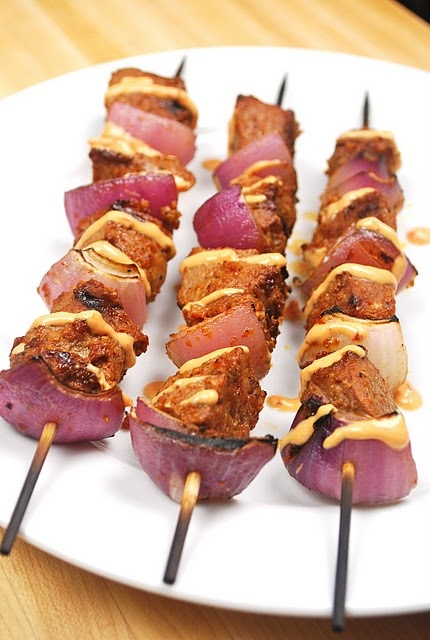Grilled Chili-Onion Sirloin Skewers with Tomato-Chipotle Dipping Sauce