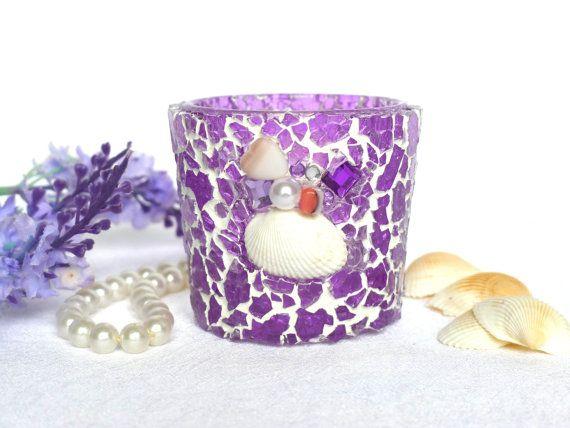 Windlicht mit Muscheln Perlen Dekoration lila violett von LonasART
