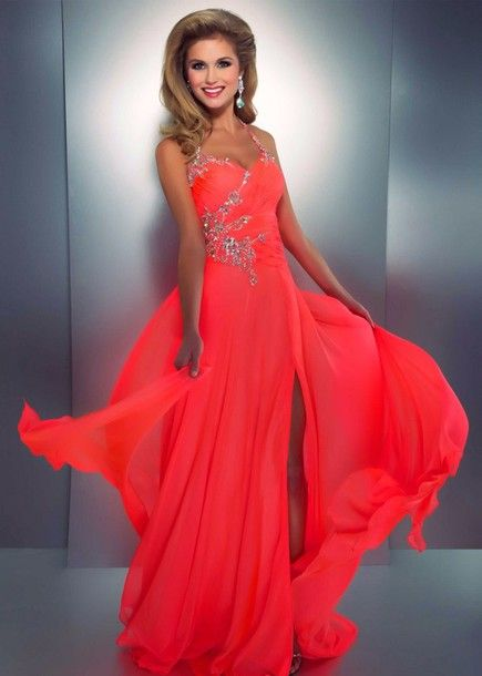 dress bright coral bright bright long prom dress long dress jeweled dress prom dress neon peach dress sparkly dress neon bright prom dress coral halter neck slit orange dress coral dress
