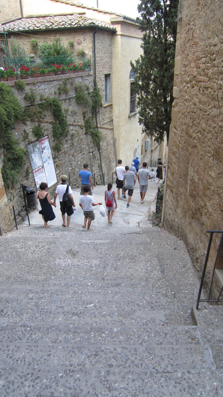 Descending steps in Volterra, known to the ancient Etruscans as Velathri, to the Romans as Volaterrae, is a town and comune in the Tuscany region of Italy.
