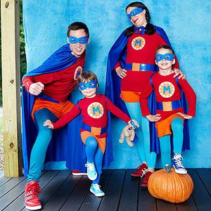Halloween Heroes: With these outfits, your family will gain the power to collect a ridiculous amount of candy in a single night. No-sew capes team up with felt-and-duct-tape masks, belts, and badges personalized with the initial of your family's last name.
