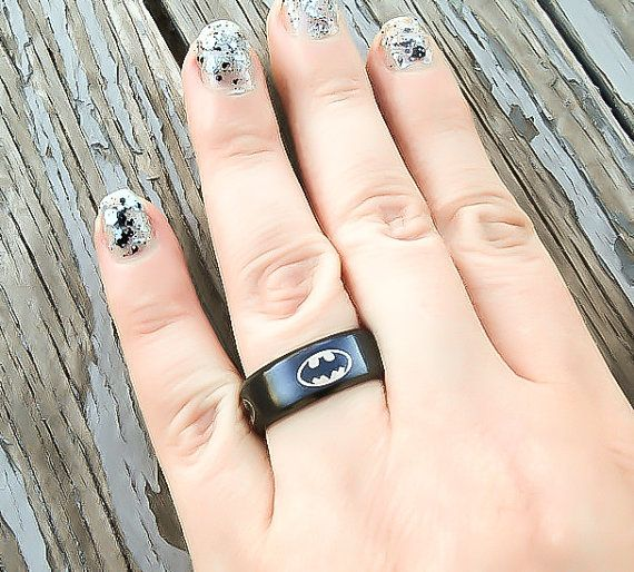 Batman Ring - Batman Wedding Ring - Batman Wedding Band - Superhero Ring - Mens Superhero Ring - Ring for him - Stainless Steel Ring