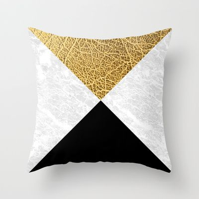 Marble gold leather Throw Pillow by Laura Moreau - $20.00