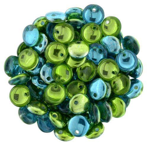 6mm,  Lime Teal Mirror Reflection, 50 pcs. Czech Glass Lentil Beads, Single Hole, Top Drilled Lentil Beads, Great Beads for Kumihimo by JasmineTeaDesigns on Etsy
