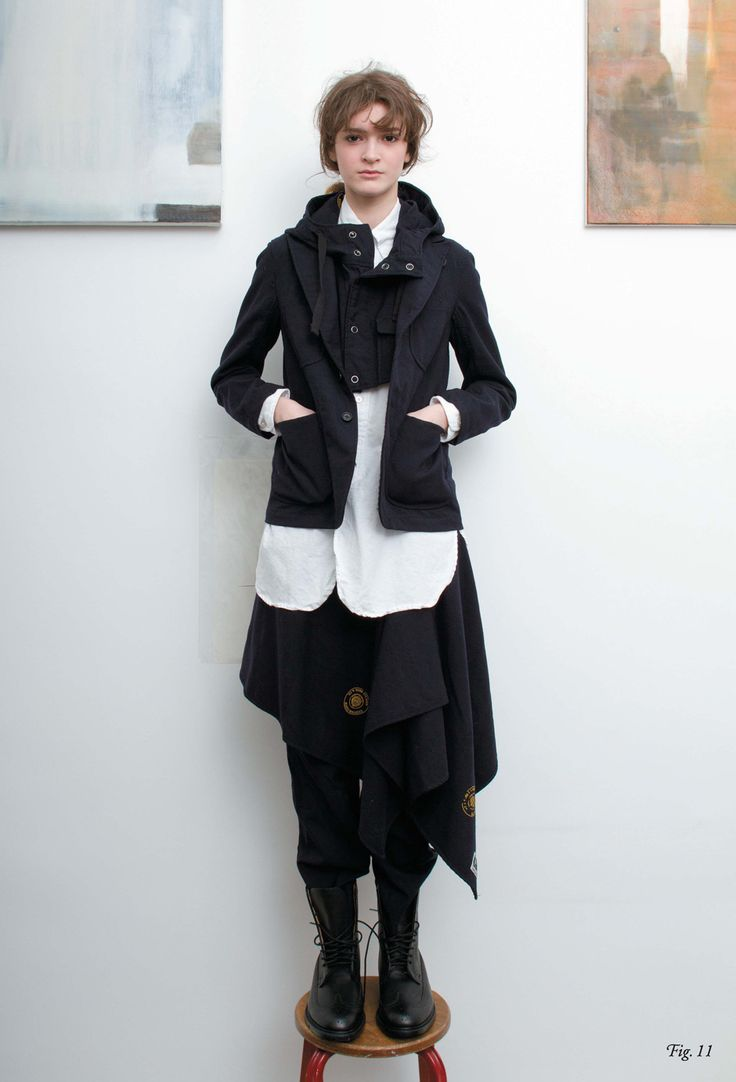 Bedford jacket x shoulder hoodie (very cool to see the double-layered jackets, with all the buttons and lapel of the cropped one popping out)  x long BD white oxford shirt x officer pants x buttoned shawl.