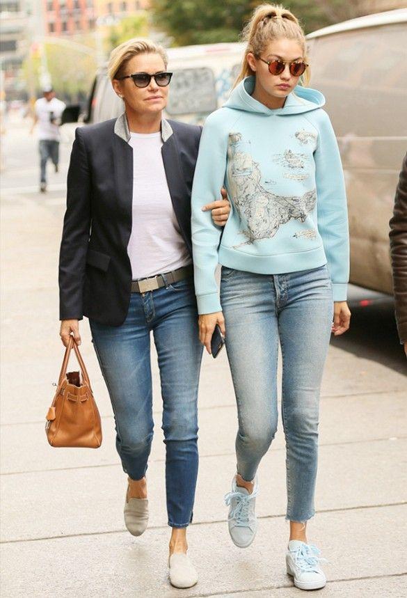 Gigi And Yolanda S Twinning Denim Moment Yolanda Foster