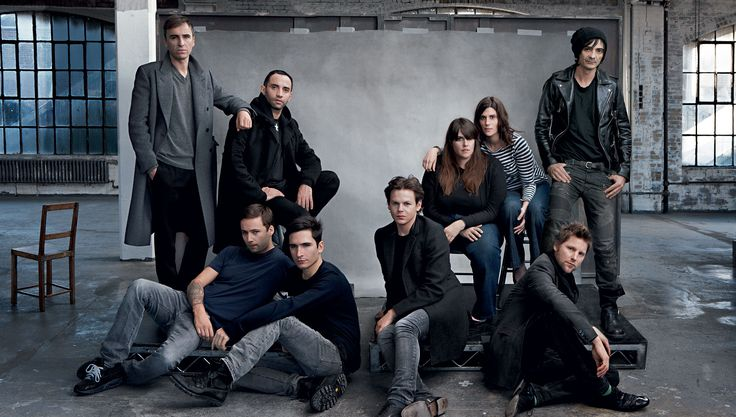 Annie Leibovitz - Vogue March 2010 - Power Houses - From left: Raf Simons of Jil Sander, Riccardo Tisci of Givenchy, Jack McCollough and Lazaro Hernandez of Proenza Schouler, Christopher Kane, Kate and Laura Mulleavy of Rodarte, Christopher Bailey of Burberry, and Christophe Decarnin of Balmain, all wearing their own clothes. Sittings Editor: Phyllis Posnick