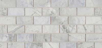 "1"" x 2"" offset mosaic in honed finish.  Blue Dolomite.  Ann Sacks  backsplash"