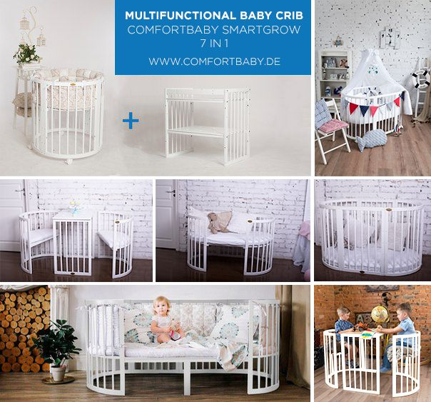 ComfortBaby SmartGrow 7 in 1 ovales Babybett / Kinderbett  mit Bettset