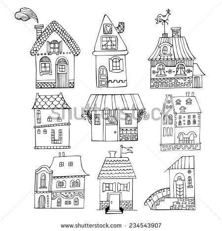 Hand drawn cartoon homes. Vector illustration