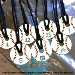 Baseball necklaces made out of washers! Fun activity for birthday party