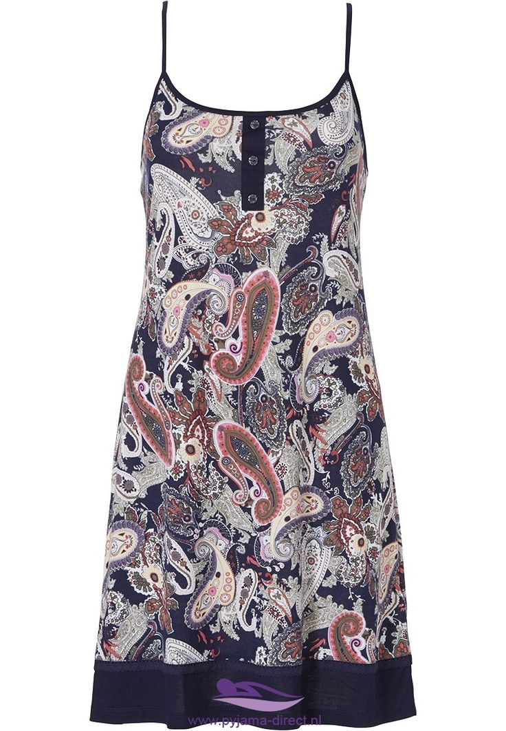 Pastunette Deluxe 'paisley floral delight' indiigo spaghetti dress with straps