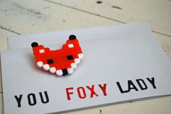 'you foxy lady'  brooch on a postcard by studio SOIL | hama beads