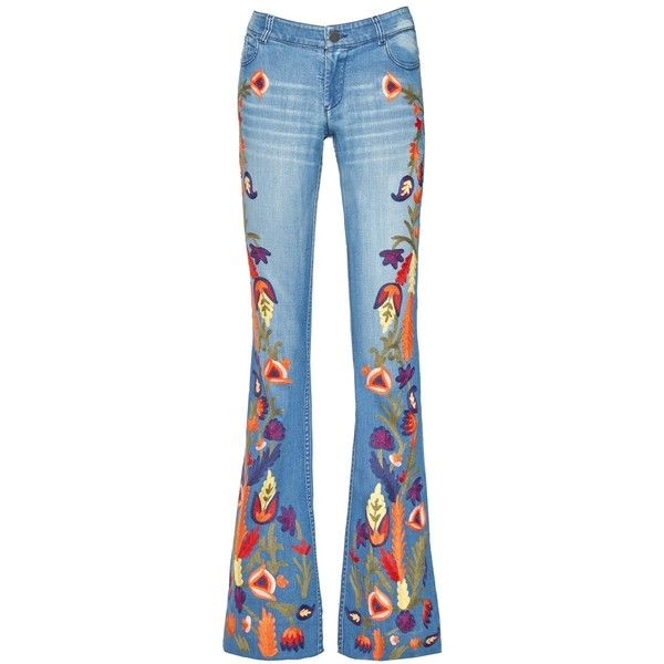 Alice + Olivia Ryley Low Rise Embroidered Bell Jean ($495) ❤ liked on Polyvore featuring jeans, skinny jeans, embellished jeans, low rise skinny jeans, denim jeans and blue jeans