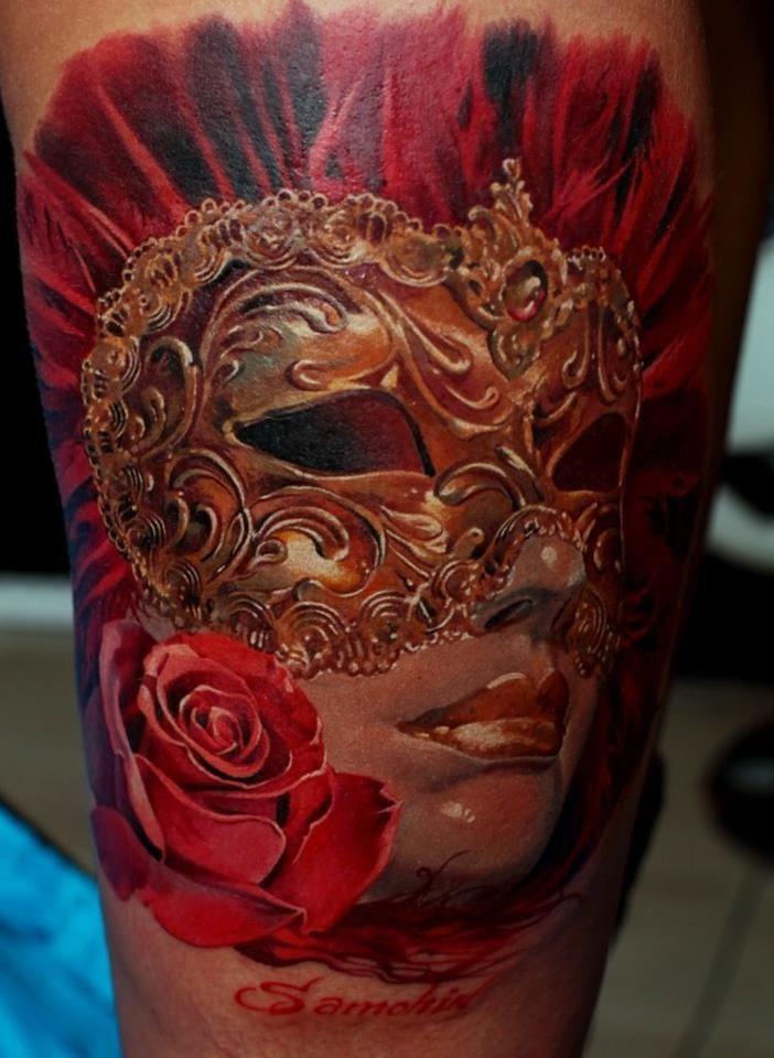 Red masquerade realistic tattoo - Dmitriy Samohin