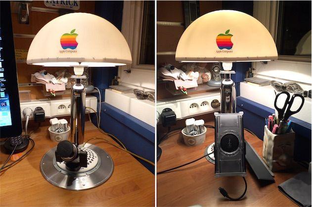 Non seulement l'iMac G4 avait une ergonomie sans pareil, mais en plus il peut faire une lampe originale une fois recyclé. Un lecteur, Patrick (Droopy59), a transformé son ancien iMac en une lampe de bureau faisant aussi office de support pour iPad.