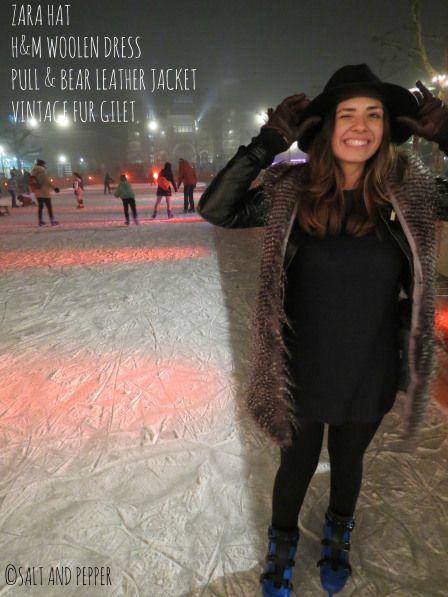 Christmas look - dress, gilet, hat, wink, skates, ice