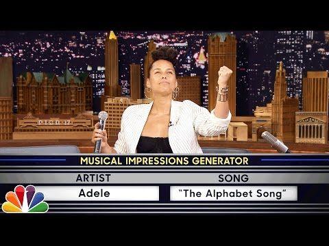 Alicia Keys Imitates Gwen Stefani, Adele on 'Wheel of Musical Impressions' 'Tonight Show' Sketch